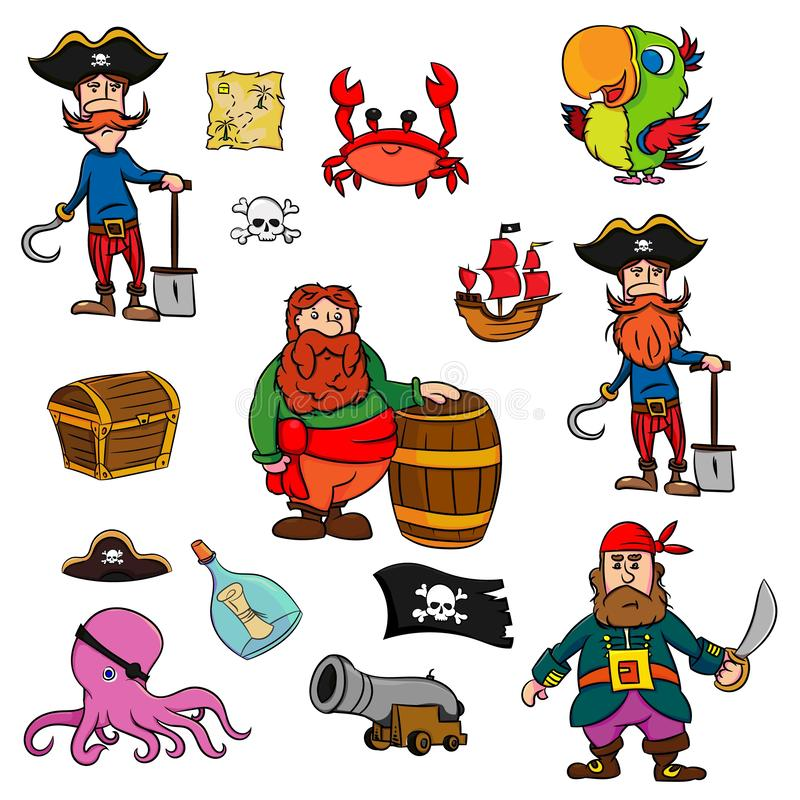 Collection de pirate de bande dessinée Ensemble de l'aventure du pirate sur l'illustration blanche de vecteur de fond illustration stock