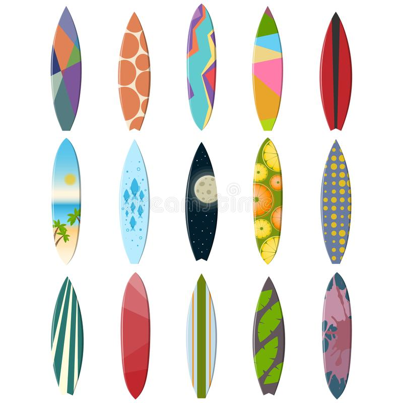 Collection de planches de surf multicolores sur un fond blanc illustration de vecteur