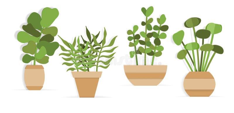 Collection de plantes d'intérieur dans des pots de fleur dans le style de papier d'art illustration libre de droits