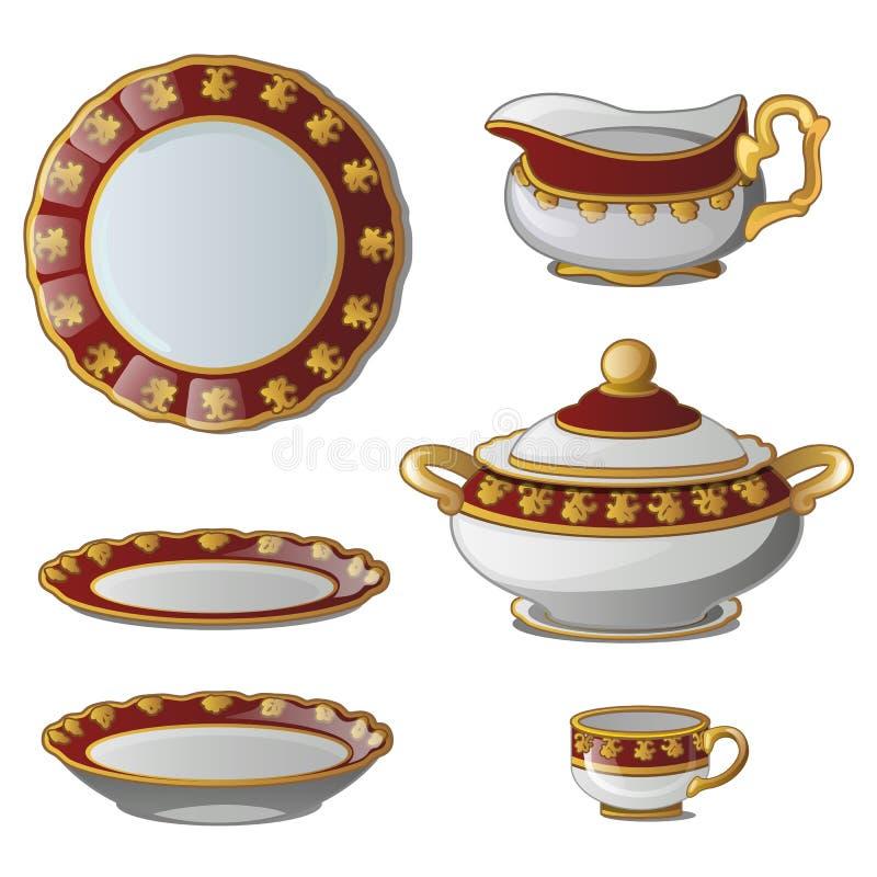 Collection de plats, soupières, tasses, cruche pour la crème illustration de vecteur
