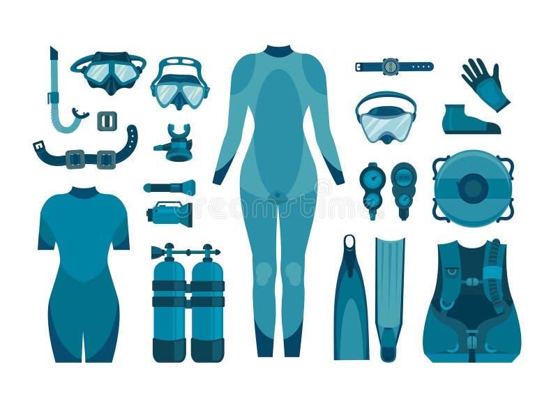 Collection de plongée à l'air illustration stock