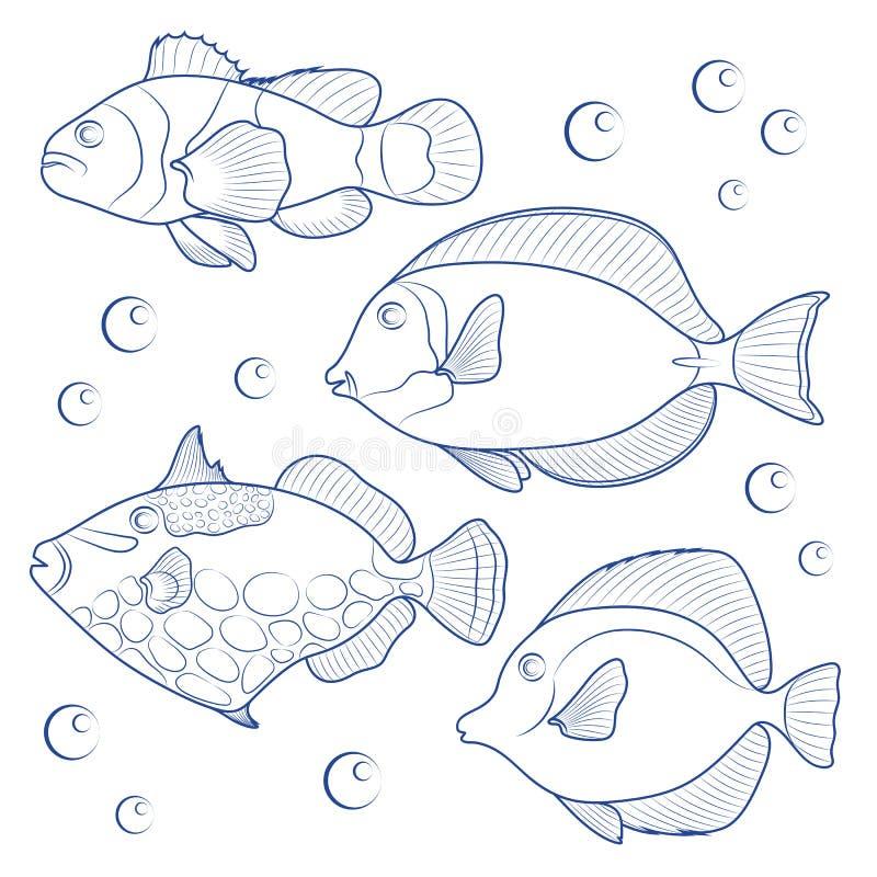 Collection de poissons tropicaux de récif illustration de vecteur