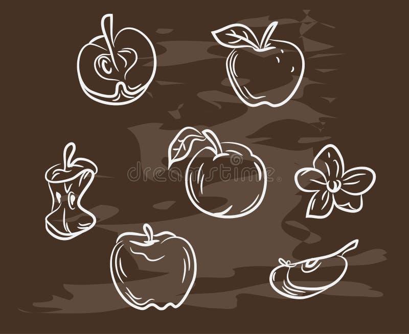 Collection de pomme tirée par la main sur le tableau noir Rétro conception de nourriture de style de vintage Illustration de vect illustration libre de droits