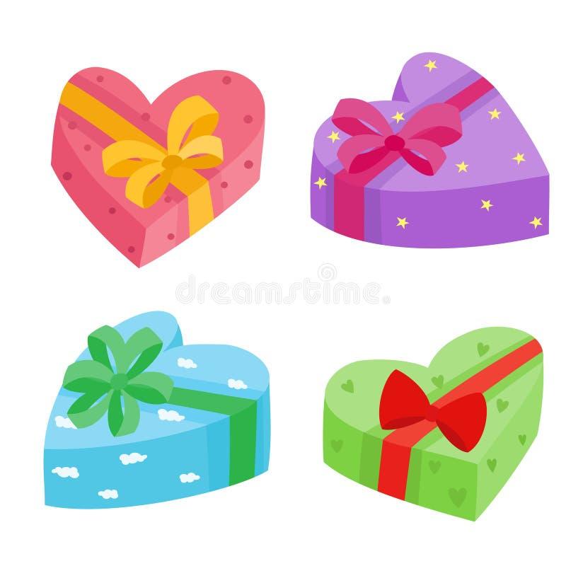 Collection de présents de jours de valentines Illustration de vecteur des cadeaux de bande dessinée illustration de vecteur