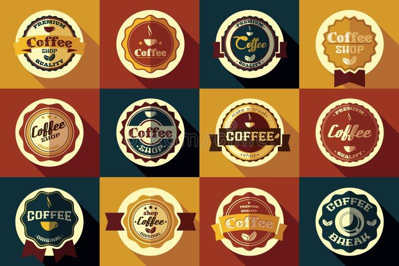 Collection de rétros autocollants de café de vintage, insignes, rubans illustration stock