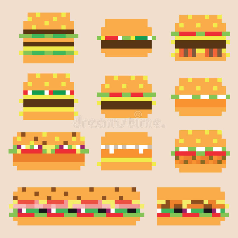 Collection de rétros hamburgers de pixel dans le vecteur illustration libre de droits