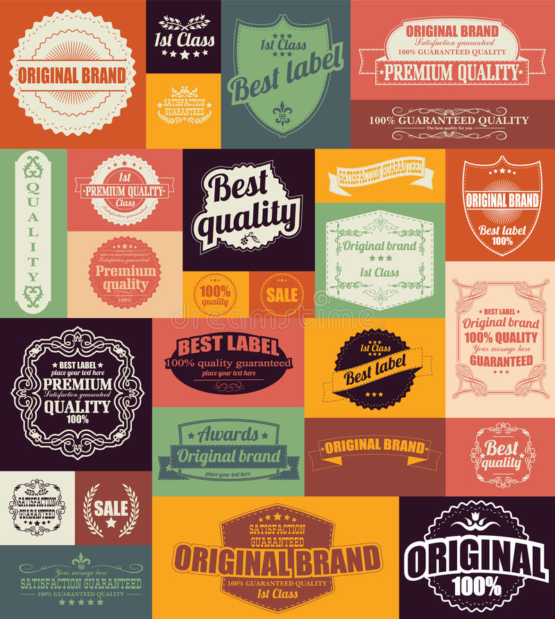 Collection de rétros labels, d'insignes, de timbres et de rubans de vintage illustration libre de droits