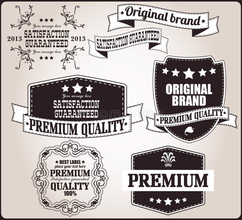 Collection de rétros labels de vintage, insignes, timbres, rubans illustration libre de droits