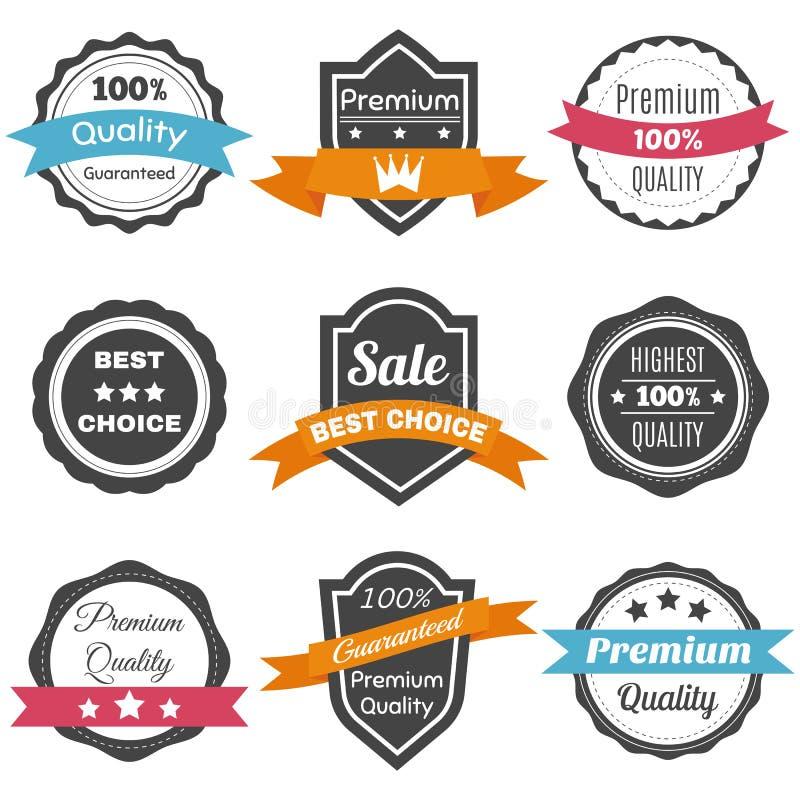 Collection de rétros labels de vintage Le meilleur choix, qualité de la meilleure qualité illustration stock