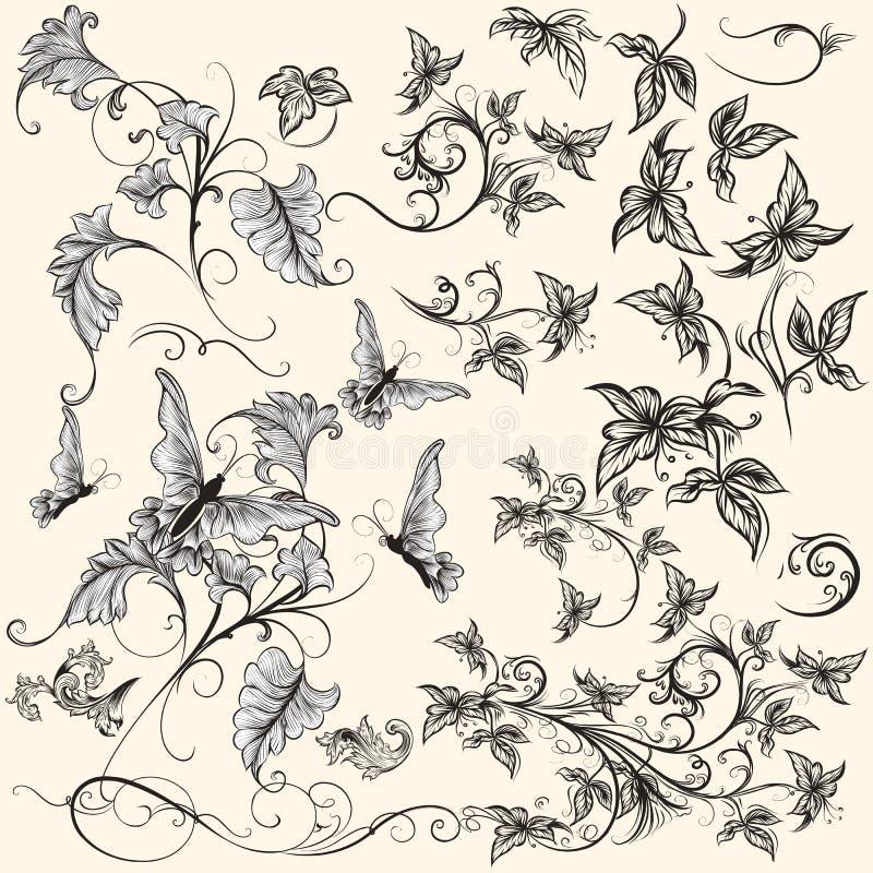 Collection de remous décoratifs dans le style de vintage illustration de vecteur