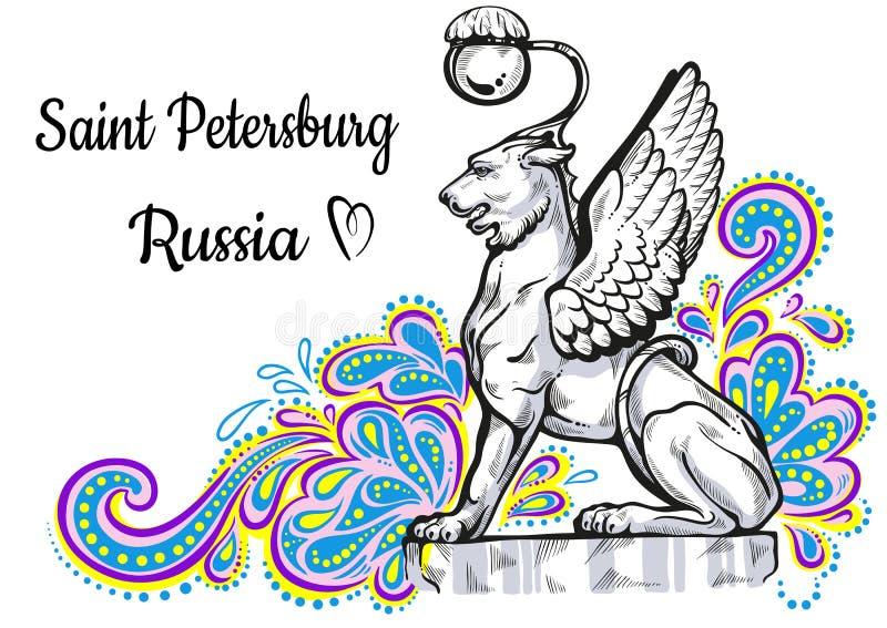Collection de renommée mondiale de point de repère La Russie, St Petersburg Pont de banque Chats en bronze avec les ailes d'or -  illustration de vecteur