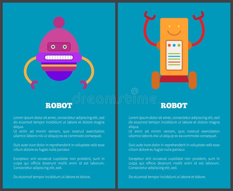 Collection de robot d'illustration de vecteur d'affiches illustration stock
