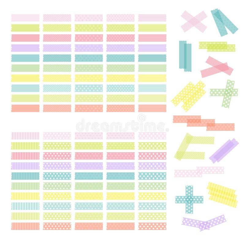 Collection de ruban adhésif ou d'autocollants colorés Ensemble de washi t illustration stock