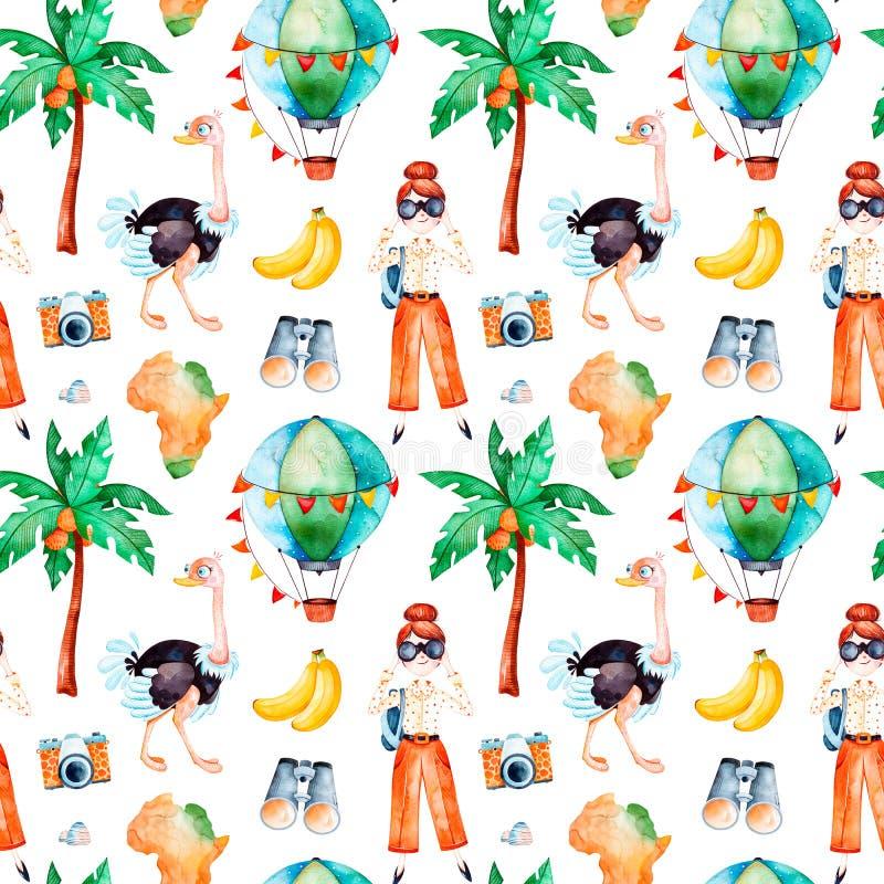 Collection de safari avec l'autruche mignonne, ballon à air, appareil-photo de photo, jeune fille de déplacement illustration libre de droits