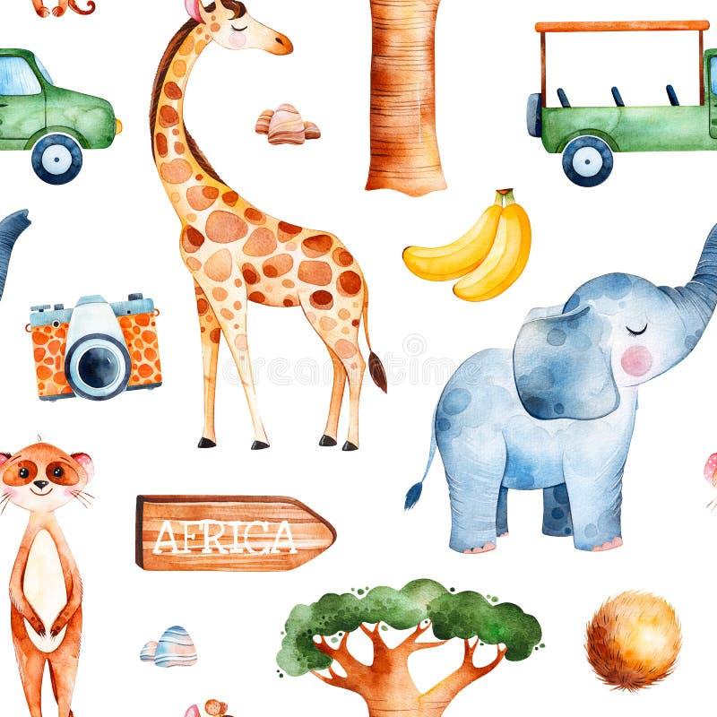 Collection de safari avec la girafe mignonne, éléphant, meerkat illustration stock