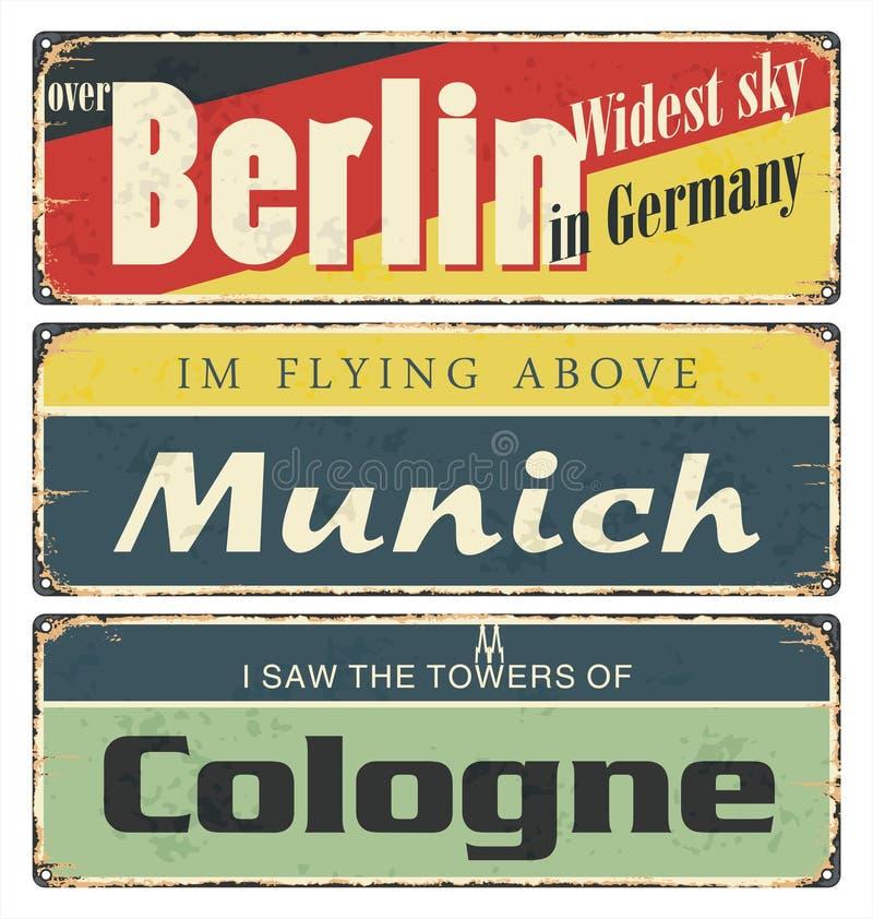 Collection de signe de bidon de cru avec des villes de l'Allemagne berlin munich cologne illustration libre de droits