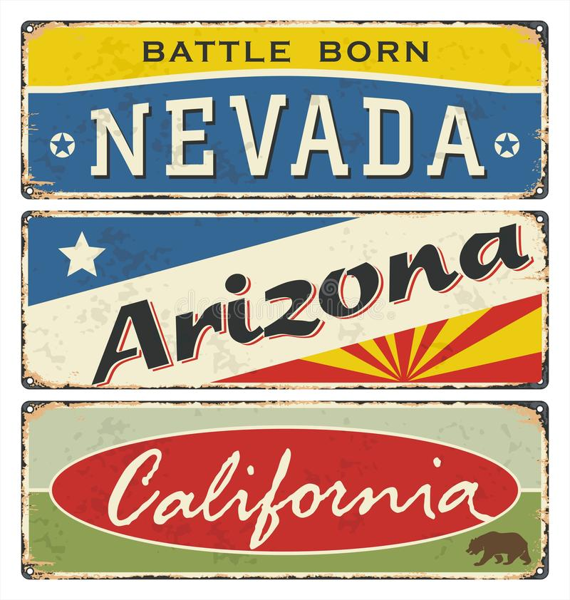 Collection de signe de bidon de cru avec les USA nevada l'arizona california illustration de vecteur