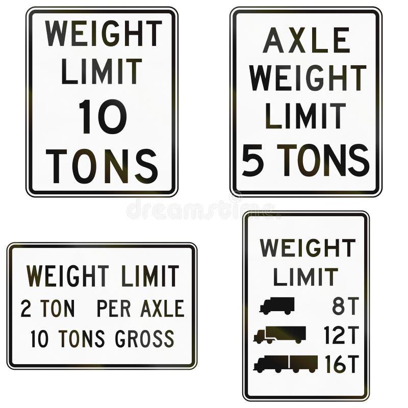 Collection de signes de limite de poids utilisés aux Etats-Unis illustration de vecteur