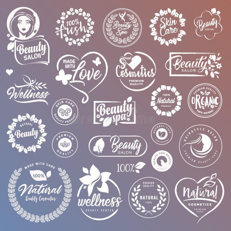 Collection de signes et d'éléments pour les cosmétiques et les produits de beauté naturels illustration libre de droits