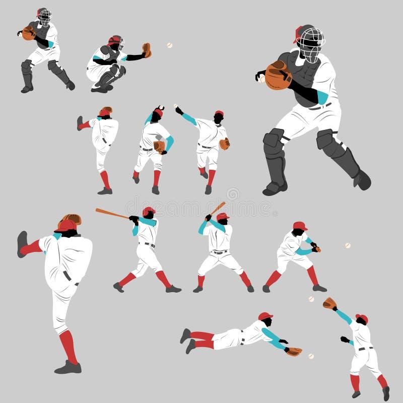 Collection de silhouette d'action de base-ball illustration stock