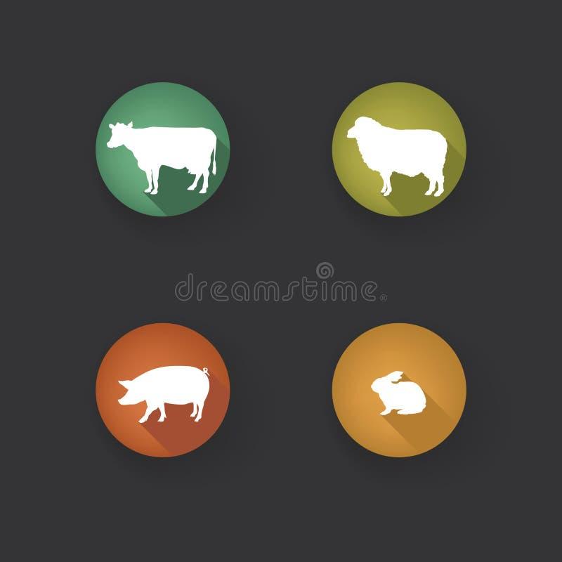 Collection de silhouette d'animaux de ferme Ensemble d'icône de bétail illustration libre de droits