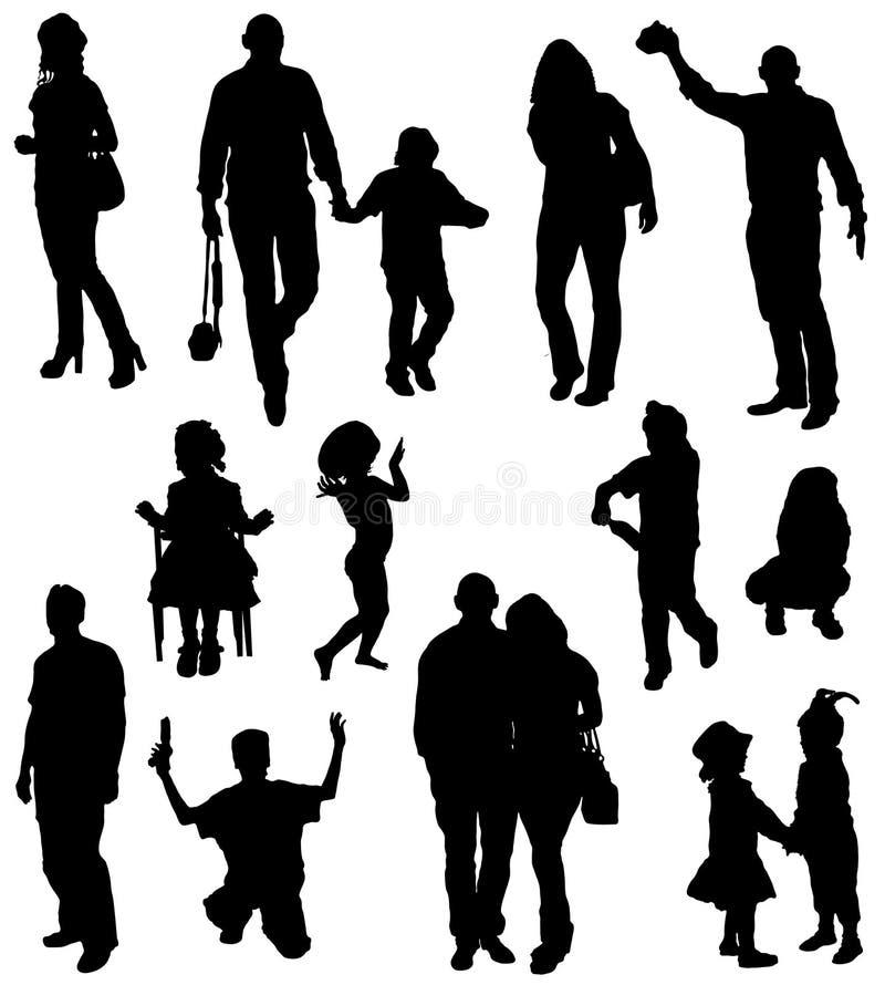 Collection de silhouettes des personnes et des enfants illustration de vecteur