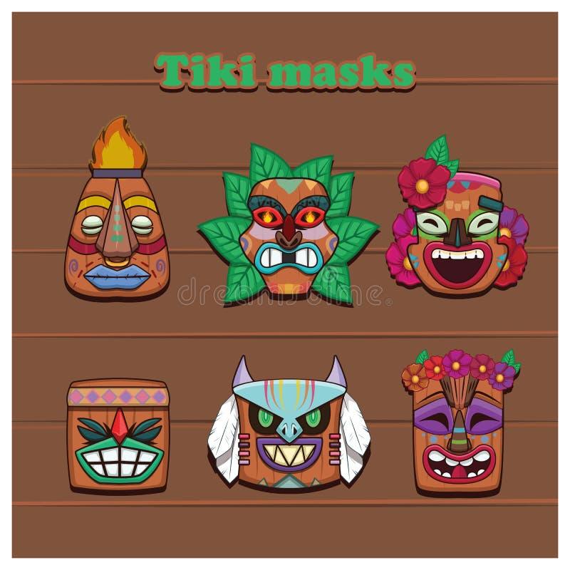 Collection de six masques colorés de Tiki illustration libre de droits