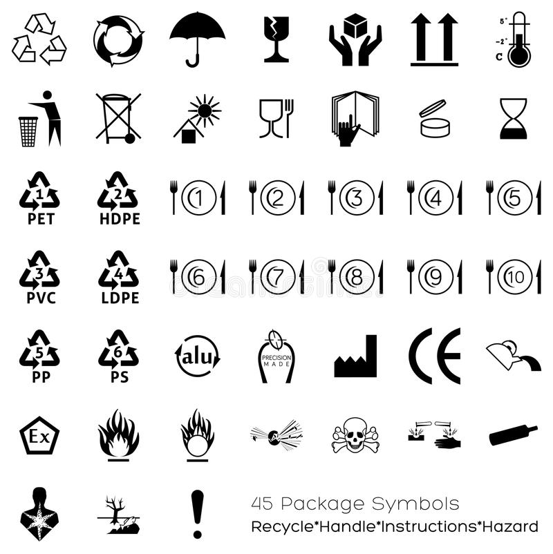 Collection de 45 symboles de empaquetage illustration libre de droits