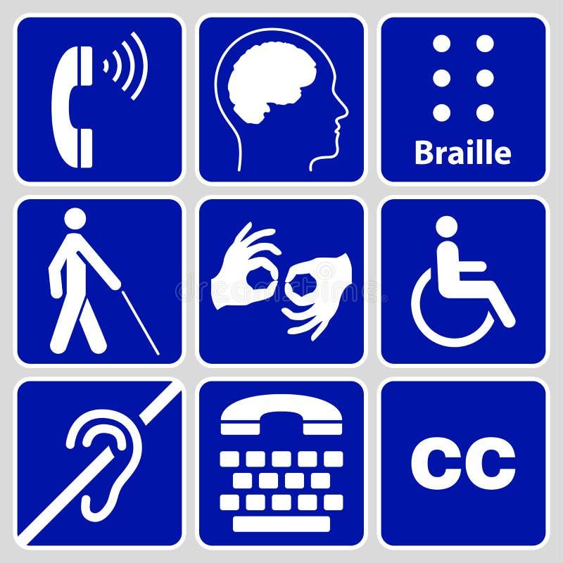 Collection de symboles et de signes d'incapacité photo stock