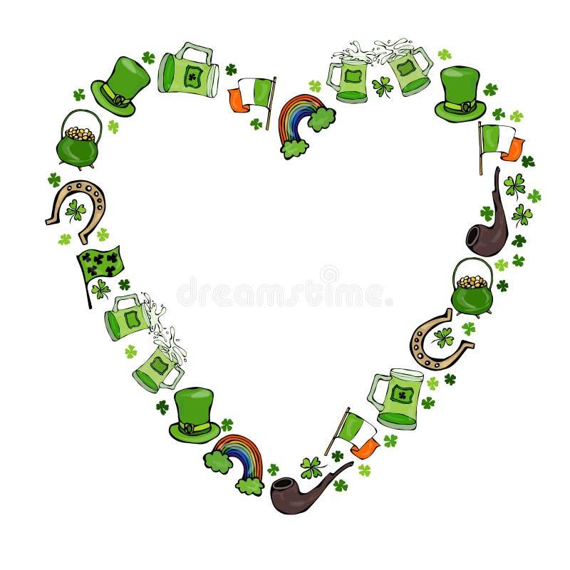 Collection de symboles irlandais Fond de forme de coeur Lutins chapeau, fer à cheval, pot d'or, drapeau, tasse de bière, arc-en-c illustration libre de droits