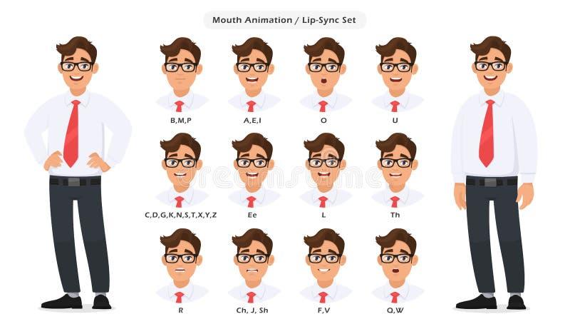 Collection de synchronisation de lèvre et prononciation saine pour animation parlante/parlante de caractère masculin Placez de l' illustration de vecteur