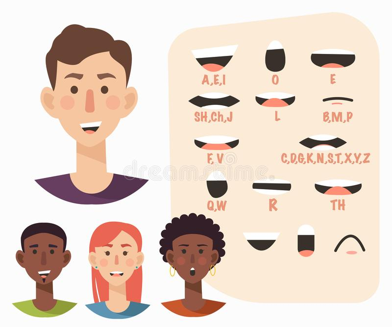 Collection de synchronisation de lèvre pour l'animation Homme occasionnel, femme Illustration plate de vecteur de style illustration de vecteur
