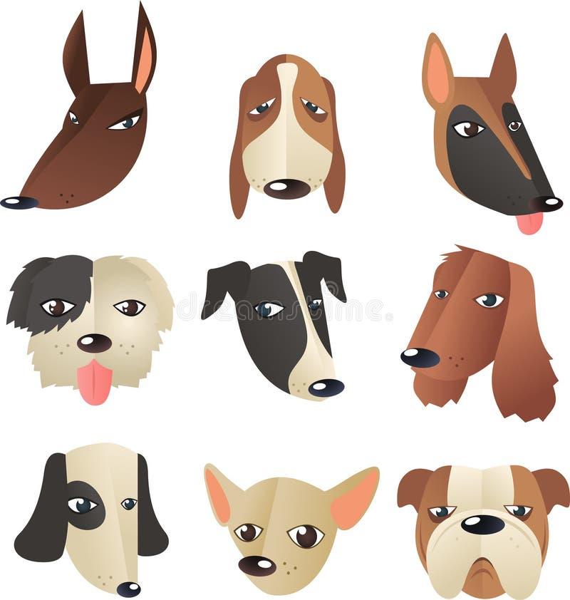Collection de tête de chien illustration libre de droits