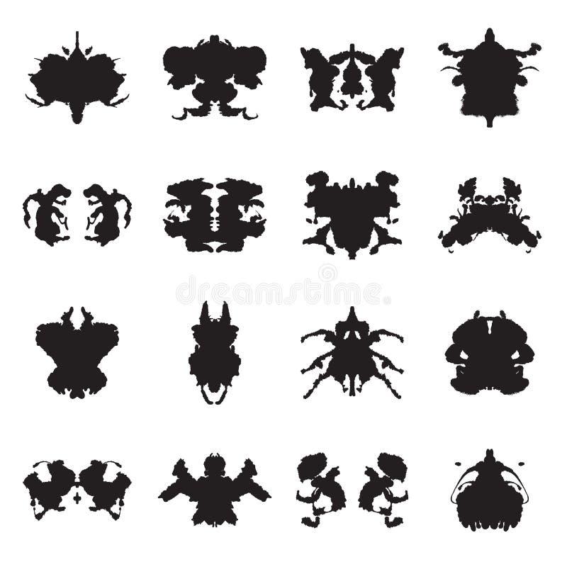 Collection de taches d'encre d'essai de Rorschach Illustration de vecteur illustration de vecteur