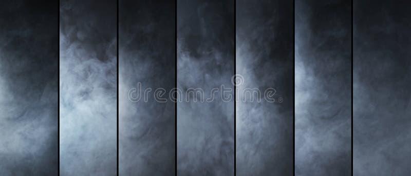 Collection de texture de fumée Différentes formes de gaz photo stock