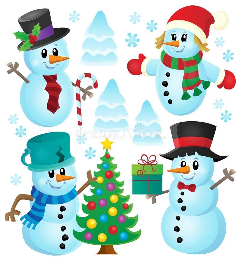 Collection 1 de thème de bonhommes de neige de Noël illustration stock