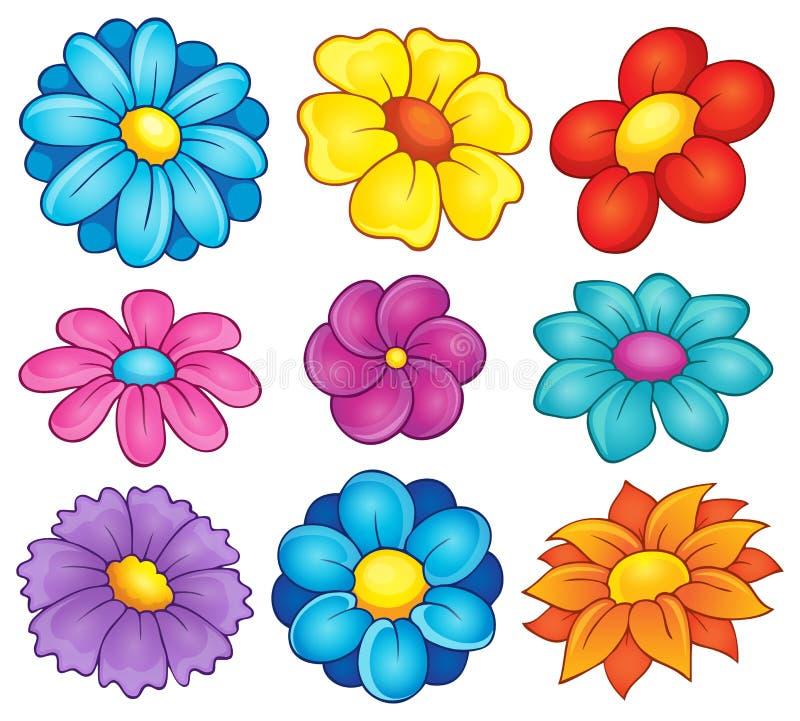 Collection 6 de thème de fleur illustration de vecteur