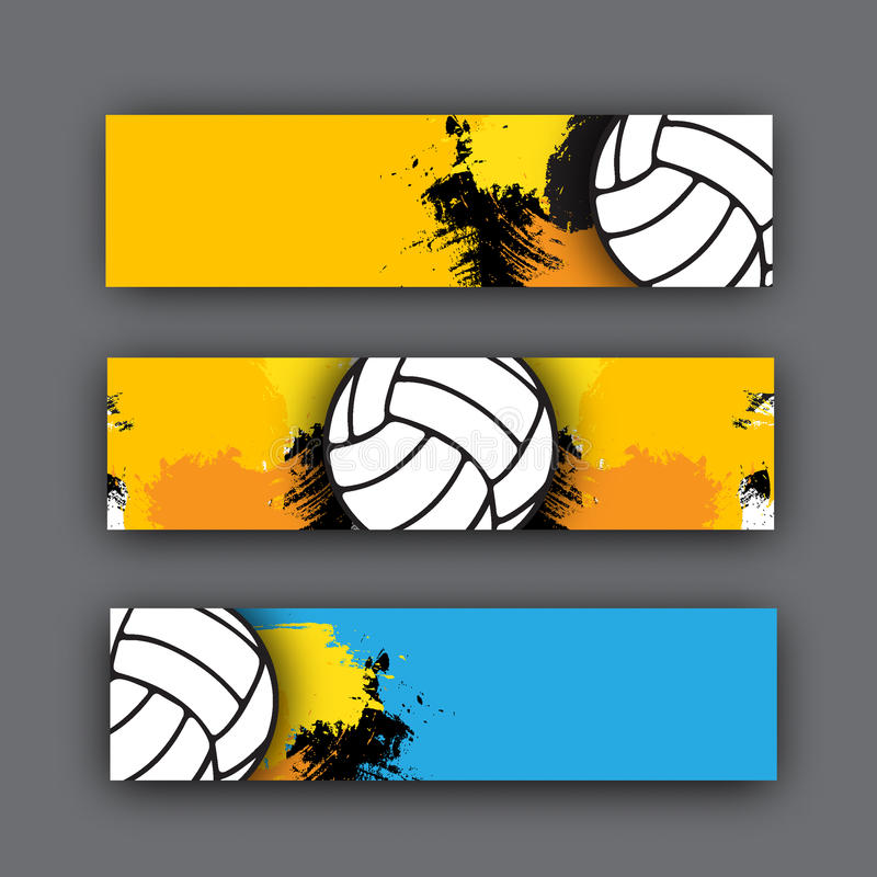Collection de thème de volleyball de bannières de vecteur boule sur le fond En-tête de plage pour le site Web illustration stock