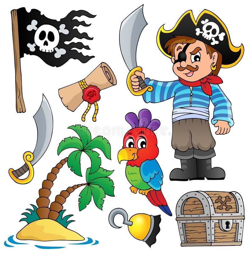 Collection 1 de thématique de pirate illustration de vecteur