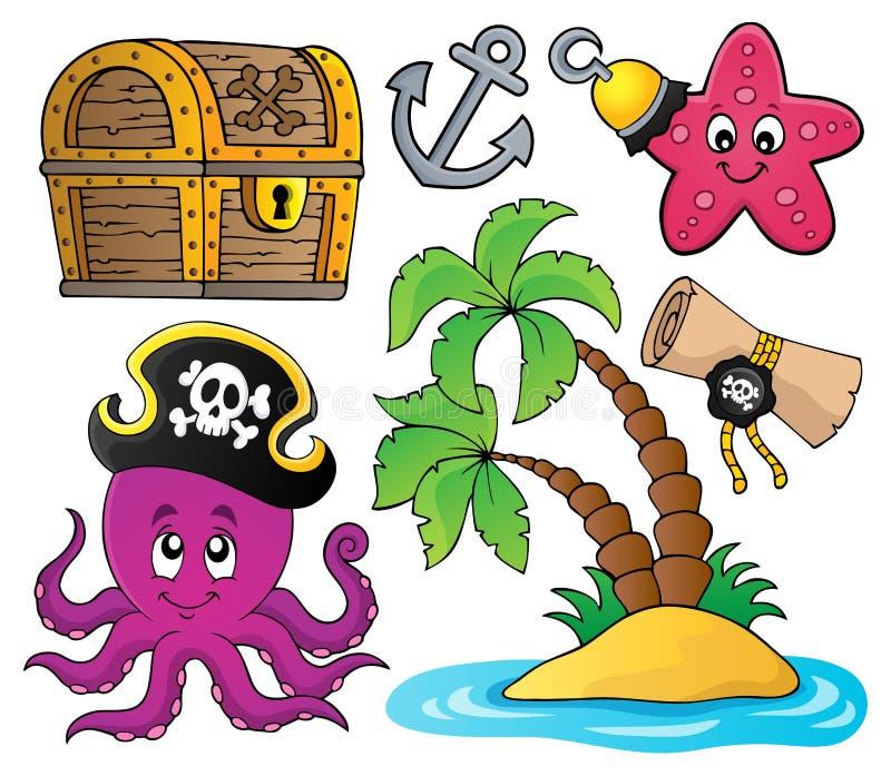 Collection 2 de thématique de pirate illustration de vecteur