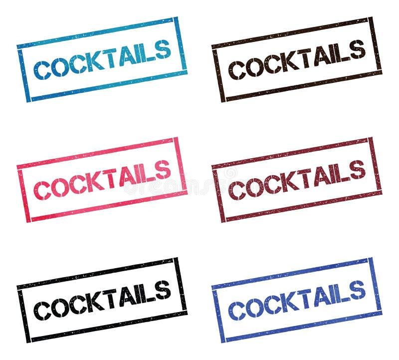 Collection de timbre rectangulaire de cocktails illustration libre de droits