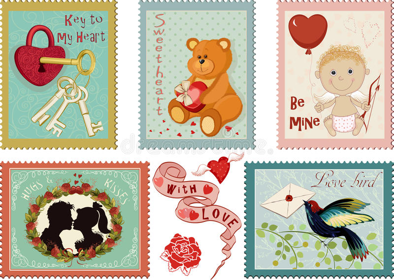Collection de timbres de jour de valentines illustration de vecteur