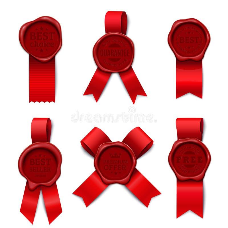 Collection de timbres rouge de ruban illustration de vecteur