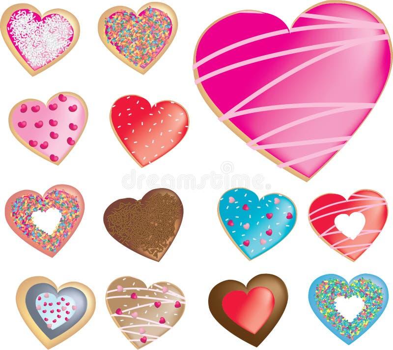 Collection de types diiferent des butées toriques, des biscuits ou de biscuits dedans illustration stock
