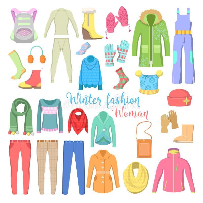 Collection de vêtements et d'accessoires d'hiver de femme avec des chaussures, des manteaux et des chandails illustration libre de droits