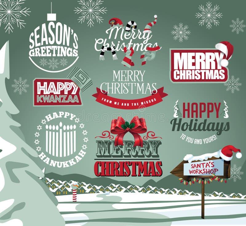 Collection de vacances de labels, d'emblèmes et de type traitements illustration libre de droits