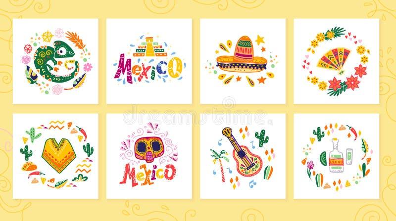 Collection de vecteur de cartes avec la partie traditionnelle du Mexique de décoration, carnaval, célébration, événement de fiest illustration de vecteur