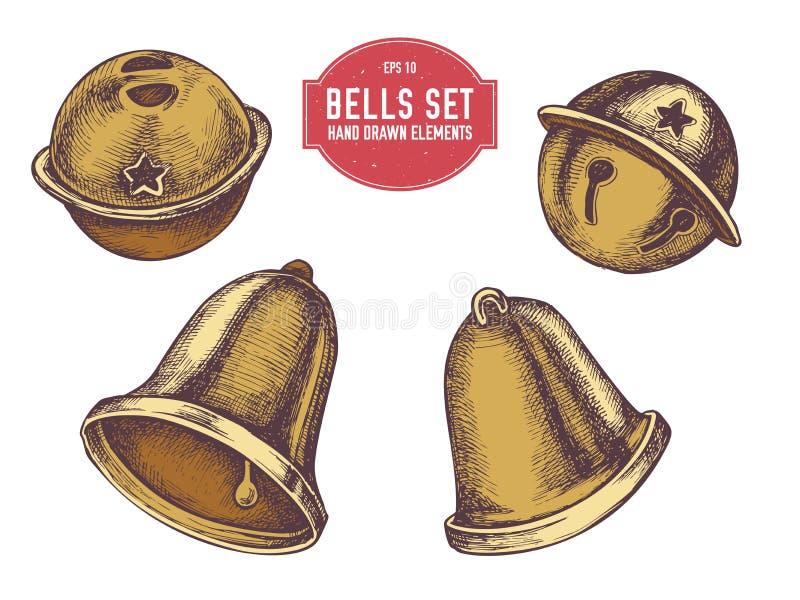 Collection de vecteur de cloches tirées par la main illustration stock