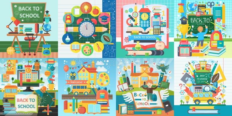 Collection de vecteur de concepts de construction plats d'éducation d'école Bannières carrées réglées avec des articles d'icônes  illustration stock