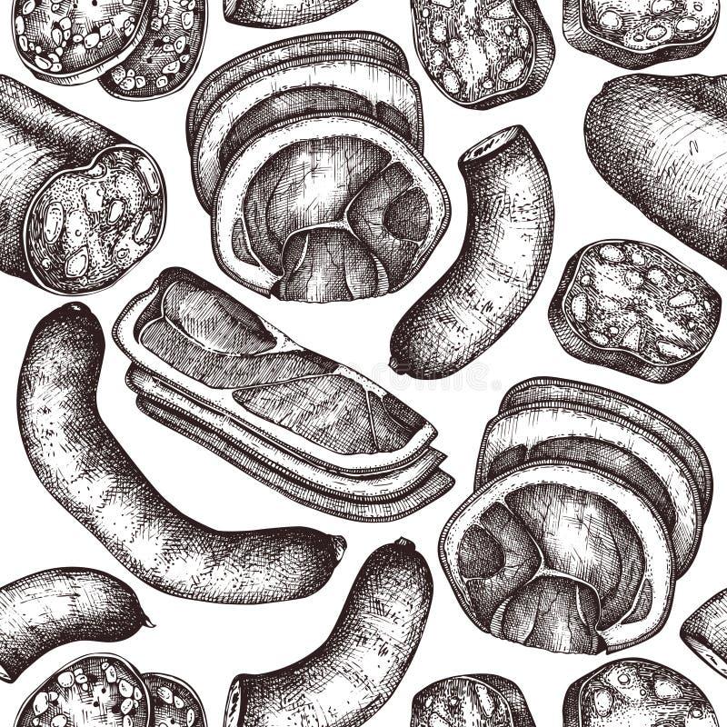 Collection de vecteur de croquis de produchts de viande, de fruits de mer et de poissons Ingrédients tirés par la main de pizza I illustration de vecteur
